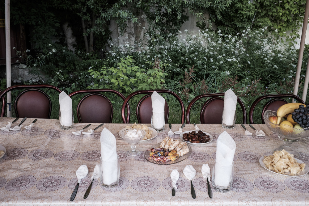 Table prepared for ramadan dinner. Talas, Talas region