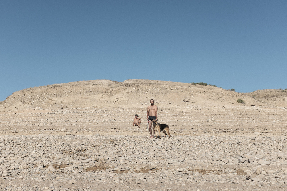 Afghan man with German Shepherd 1. Kirov Reservoir, Talas region