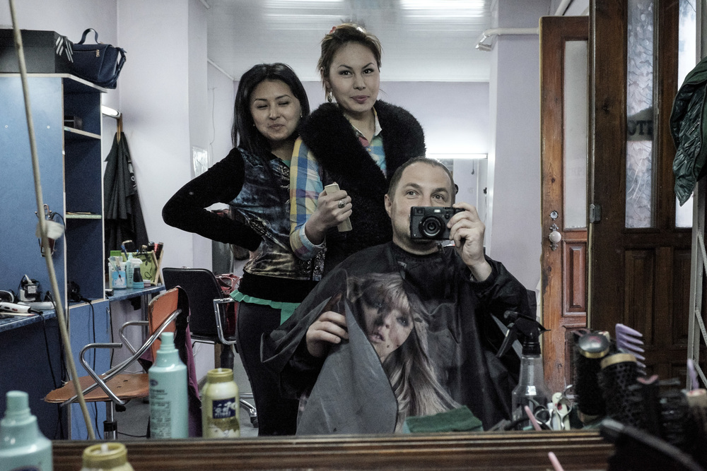 Barber shop selfie. Osh bazar,Bishkek, Kyrgyzstan.