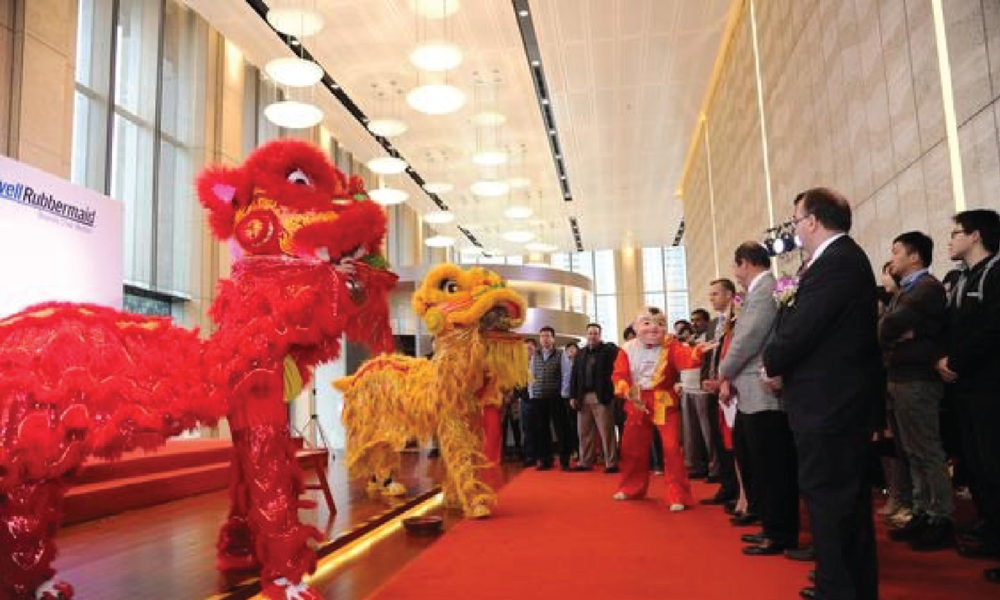 A traditional lion dance marked the opening of the expanded Newell Rubbermaid office in Shanghai in 2012   Courtesy: Newell Rubbermaid