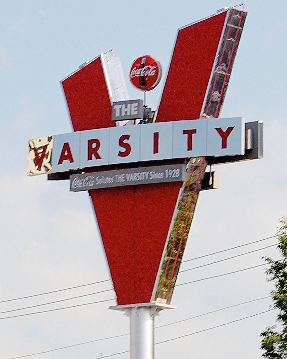 "An iconic red ""V"" marks The Varsity in Atlanta.   photo by Valerie, Flick"