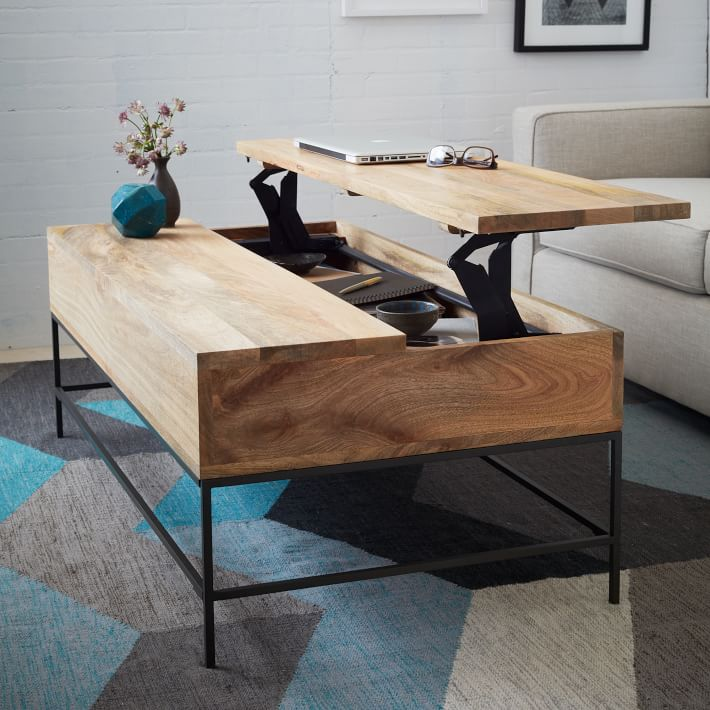 Rustic Modern Storage Coffee Table | West Elm | Home Organization | www.foundandkept.com