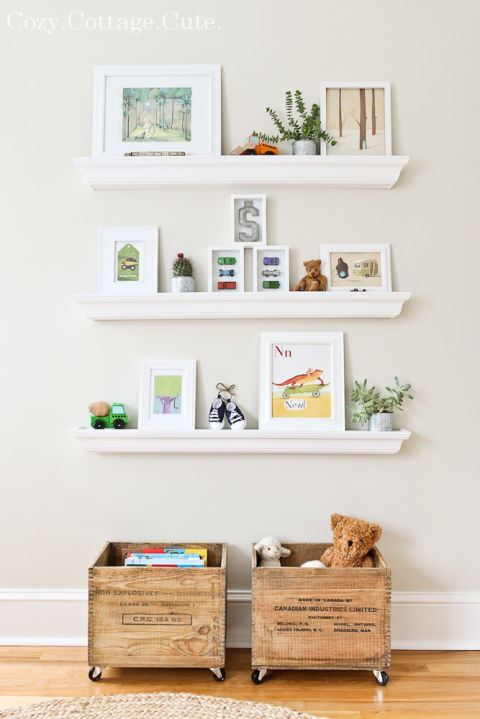 Kids Room | Open Wall Shelving | Home Organization | www.foundandkept.com