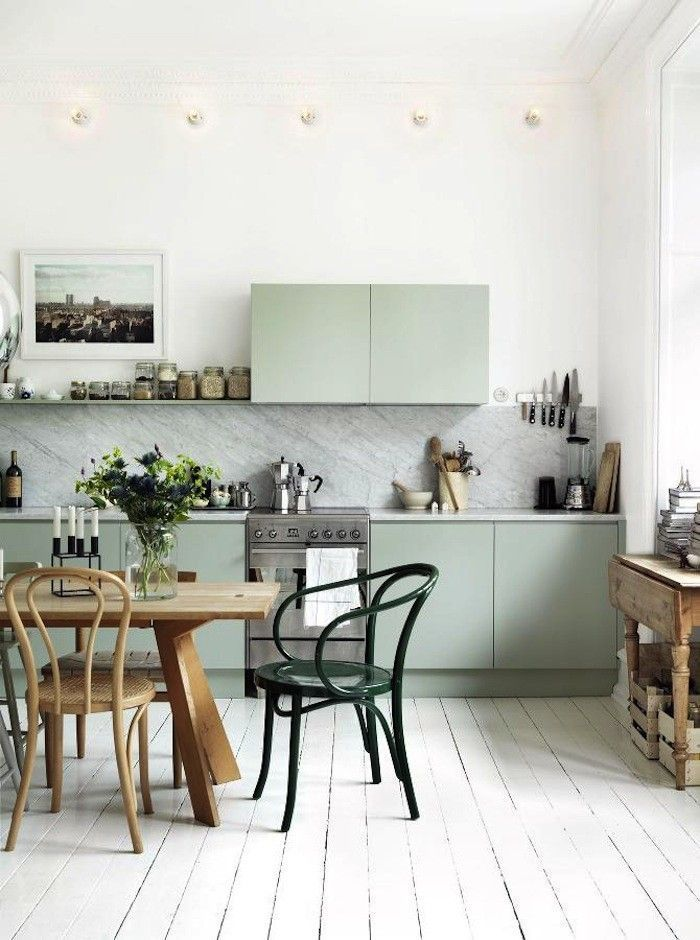 Pale Green Modern Rustic Kitchen | Interior Design | www.foundandkept.com