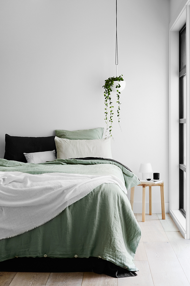 Pale Green Linen Bedding | Simple Organic Modern | Interior Design | www.foundandkept.com