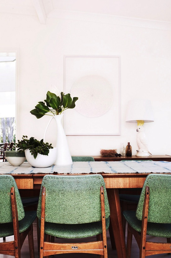 Mid-Century Pale Green Dining Chairs | Interior Design | www.foundandkept.com