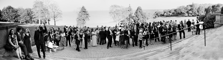 photograph at aldrich mansion of entire wedding in panoramic photograph