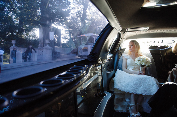 bride in limo in boston
