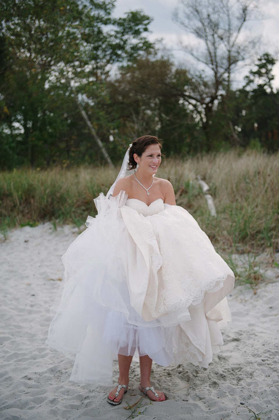 wentworth by the sea wedding bride on beach
