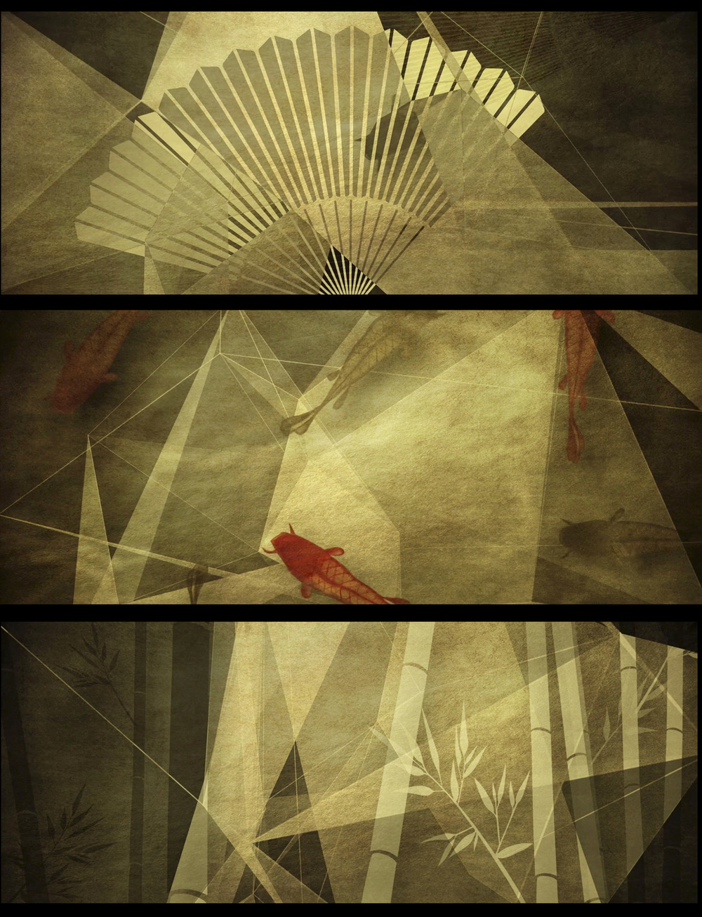 Stills from clips based on Origami concept