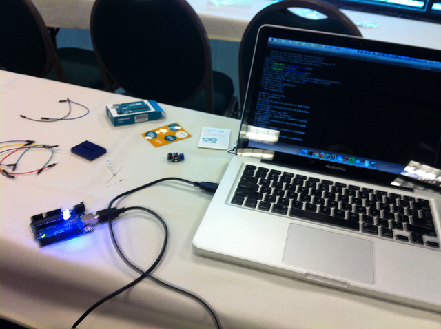 My very first Arduino. Apologies for the terrible iPhone photo...what can I say, it was 2013.