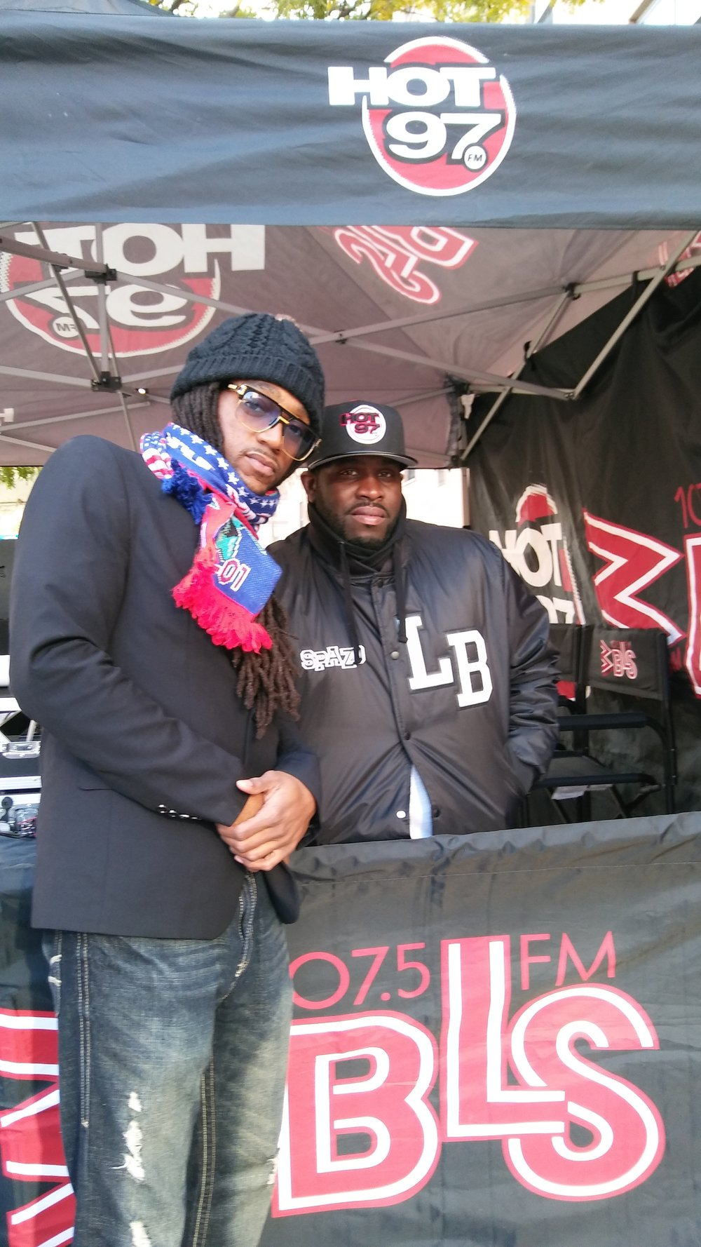 Image-I/ Afrikan Kartel w/ NY Hot 97 Dj Spazzo after performing on the Main Stage @2016 TCS NY Marathon