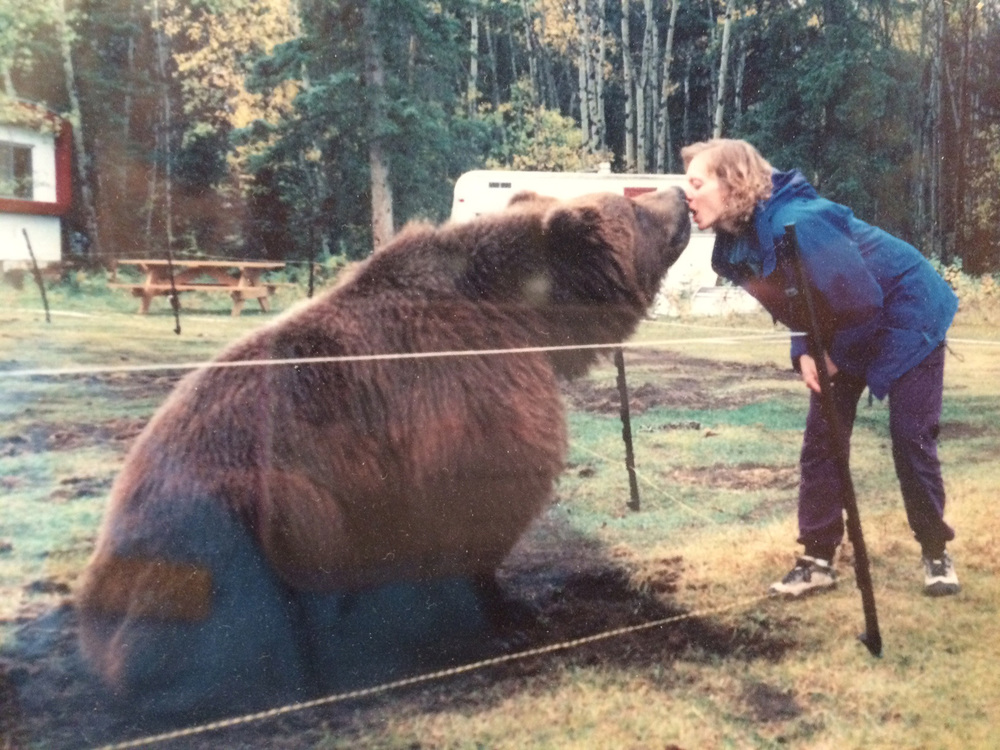 Dr. Karen examining a large pet