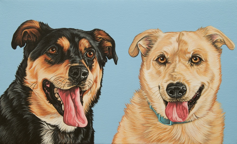 """Cassie + Samson"", latex enamel on canvas, 11""x 18"", 2015"