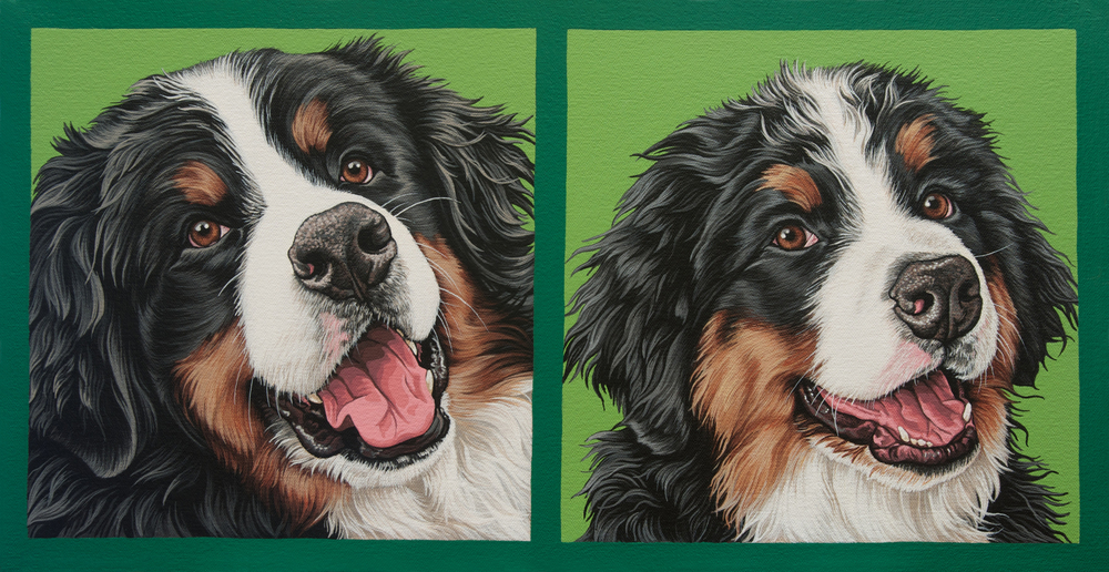 """Watson"" (puppy + adult diptych), latex enamel on canvas, 10"" x 19"", 2015"