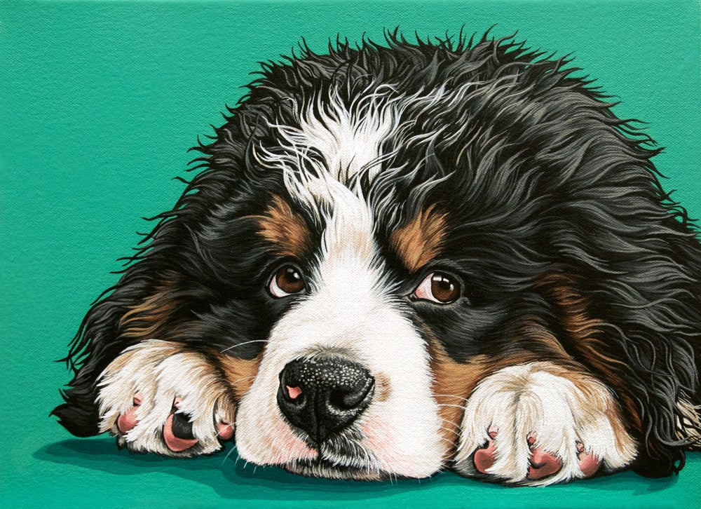 """Watson"", latex enamel on canvas, 9""x 12"", 2016"