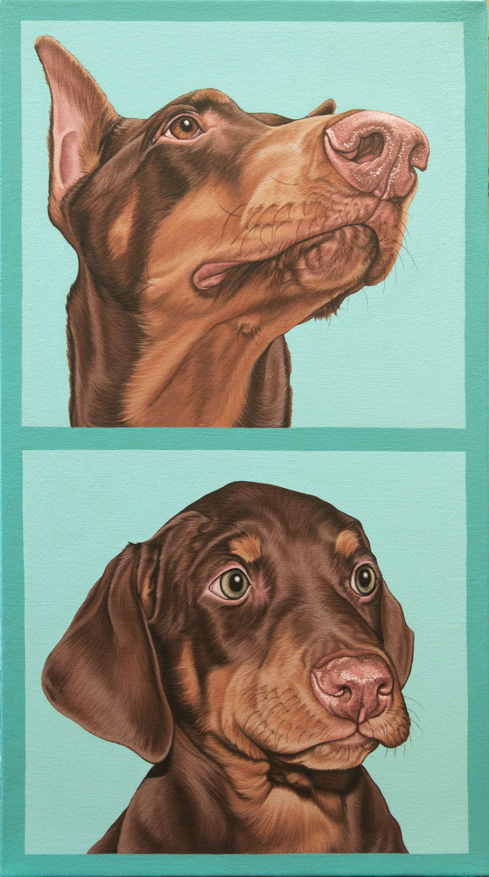 """Othello (puppy + adult), latex enamel on canvas, 20"" x 11"", 2016"