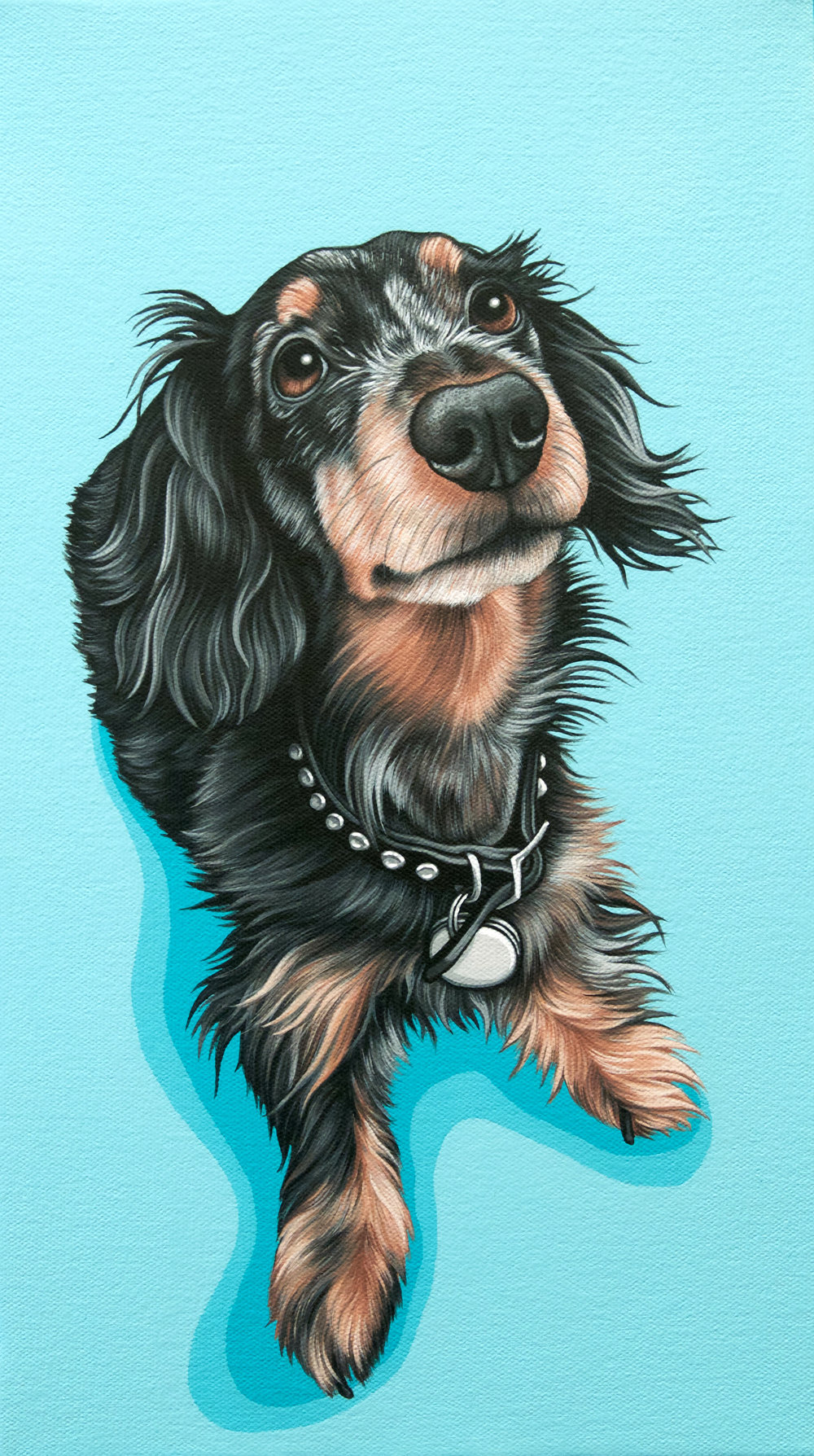 """Huey"", latex enamel on canvas, 9"" x 14"", 2017"
