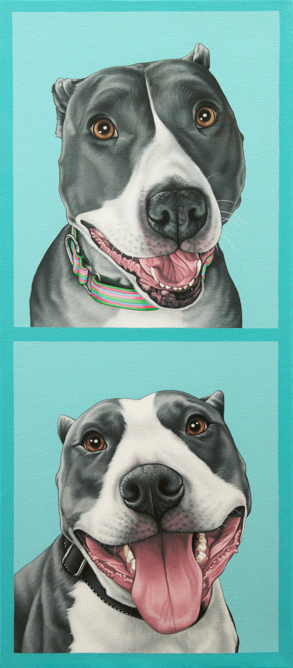 """Max + Rosie"", latex enamel on canvas, 18"" x 30"", 2017"