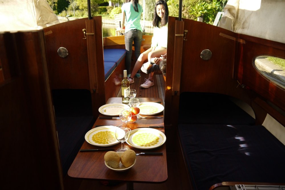 Eating on board a traditional sailing yacht