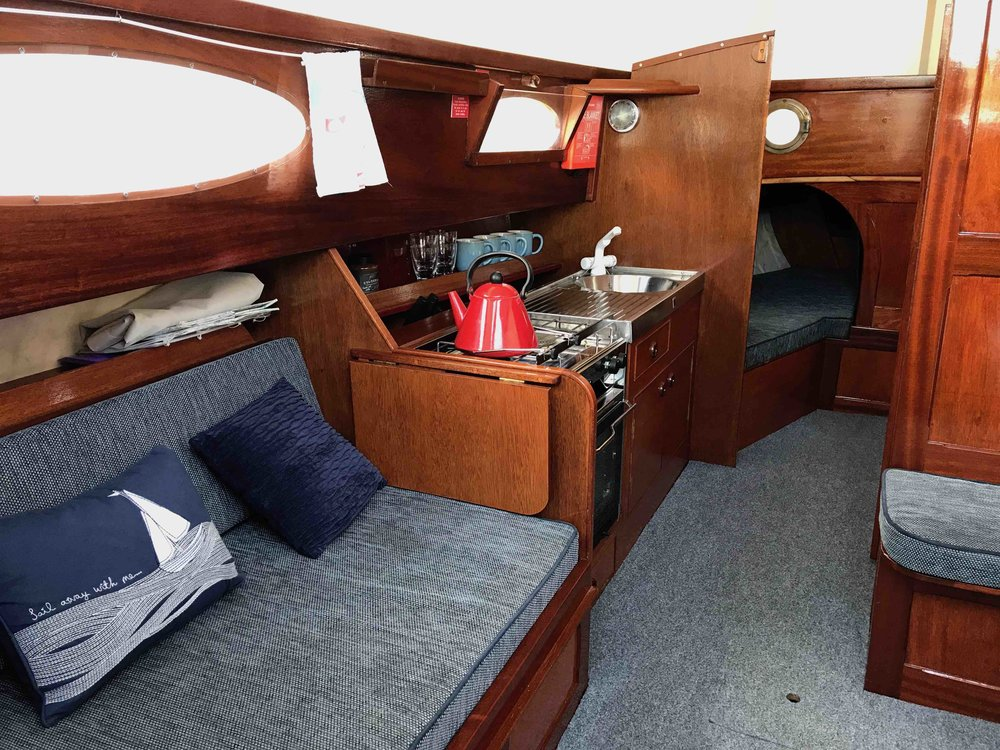 Interior of a traditional Norfolk Broads Sailing Boat