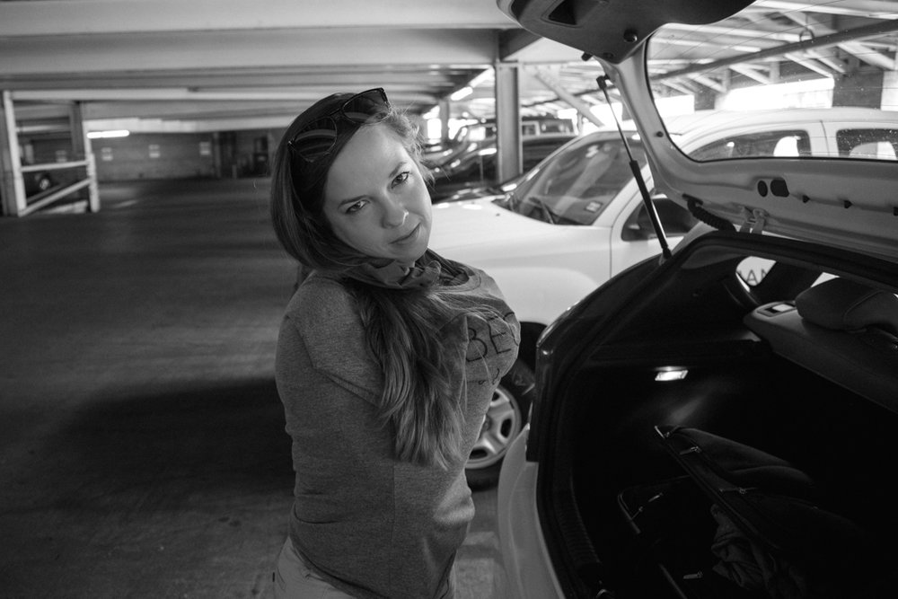 We arrived and Kathryn just had to change. So, she did so in the parking garage. No shame ;)