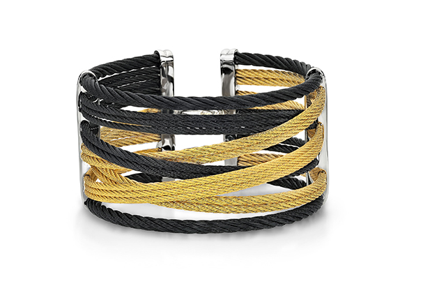 Alor's Modern Mix cuff in 18-karat gold with black and yellow cable ($595)