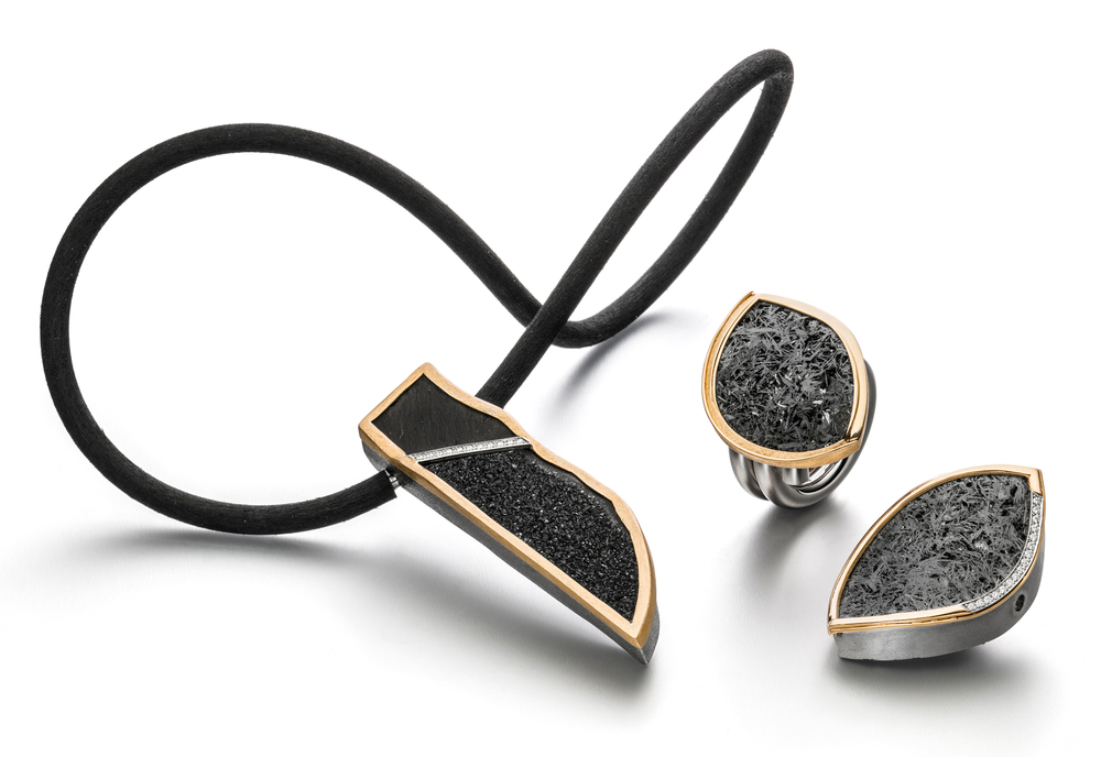 Vario clasp, necklace, and ring in stainless steel, 18k yellow gold. and platinum with drusy agate and diamonds by   Marcel Roelofs  , price on request