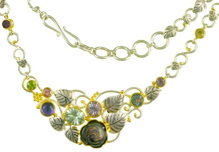 New collection necklace in sterling silver with 6.75 cts. t.w. mixed gemstones by   Michou  , $595