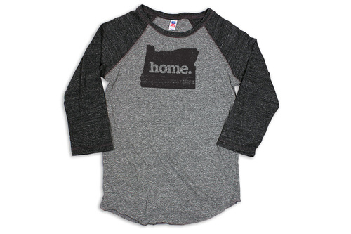 25f78bba8deac OR Oregon home shirt raglan black charcoal home state apparel ...