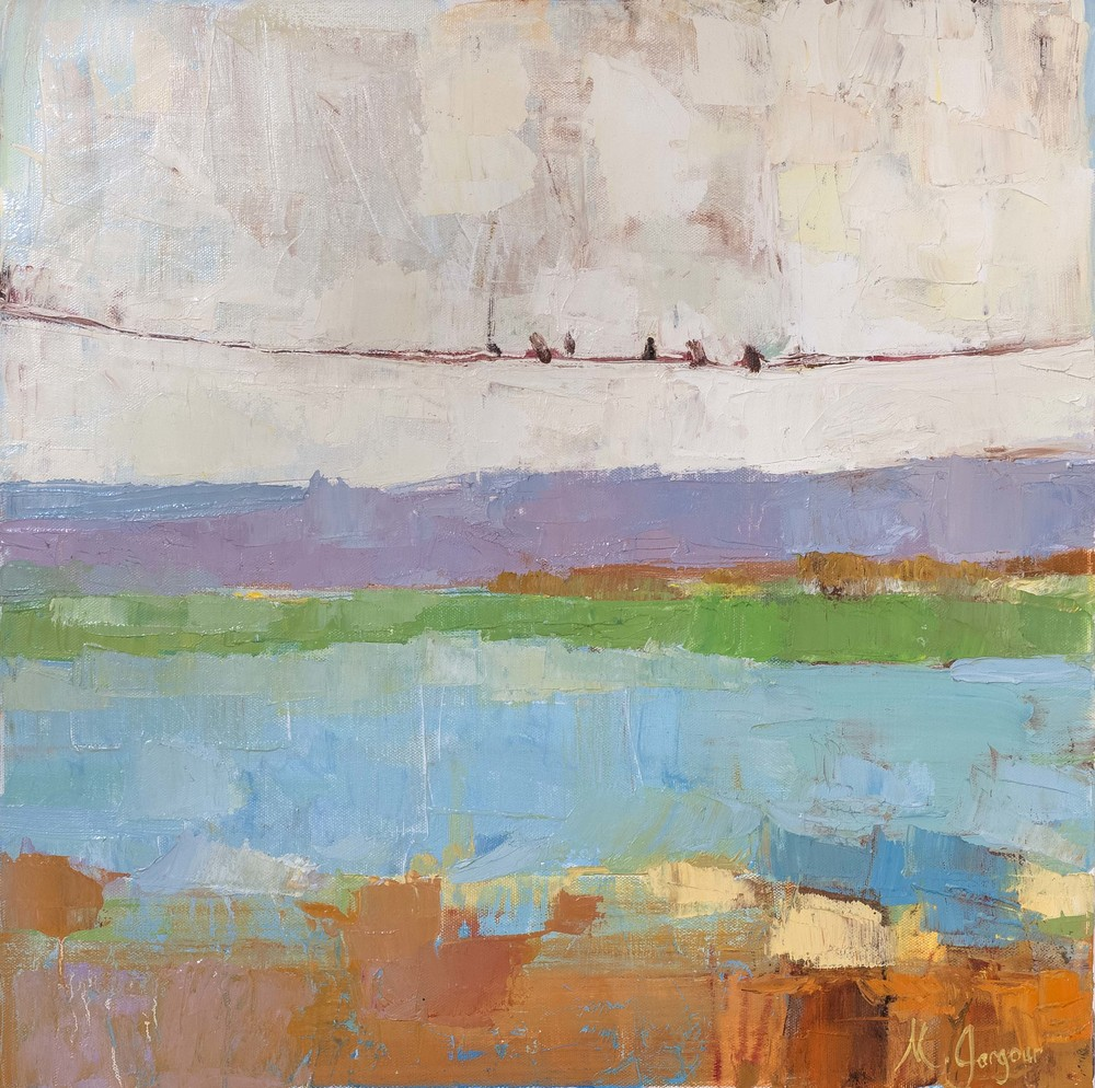 Birds on Wire  20 x 20 inches Oil on Canvas 2014