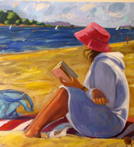 Lady on Beach  36 x 36 inches Oil on Canvas 2010