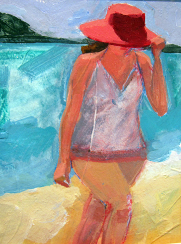 Lady with a Red Hat  10 x 8 inches Acrylic on Paper 2009