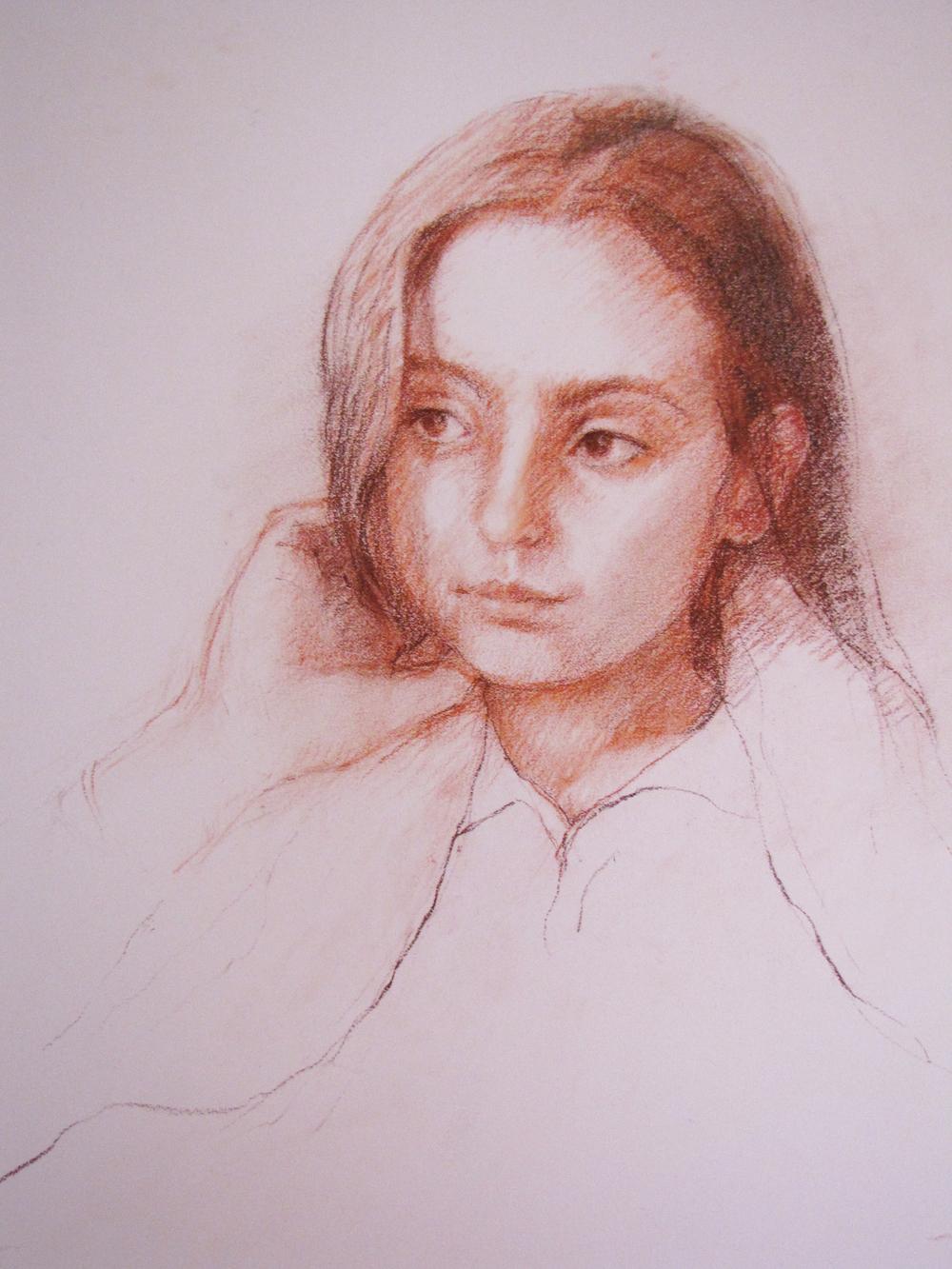 Gabriella  24 x 18 inches Conte on Paper 2010