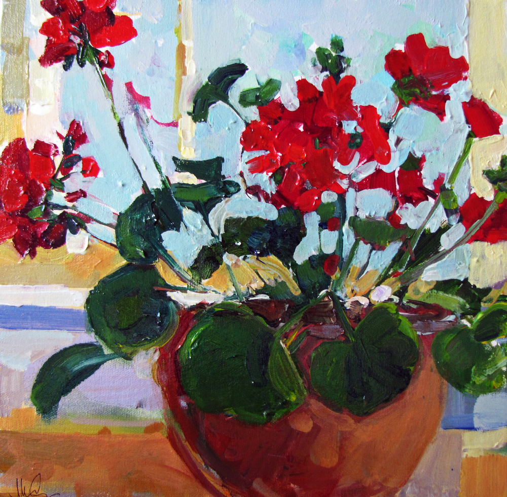 Geraniums in Main  12 x 12 inches Oil on Canvas 2009