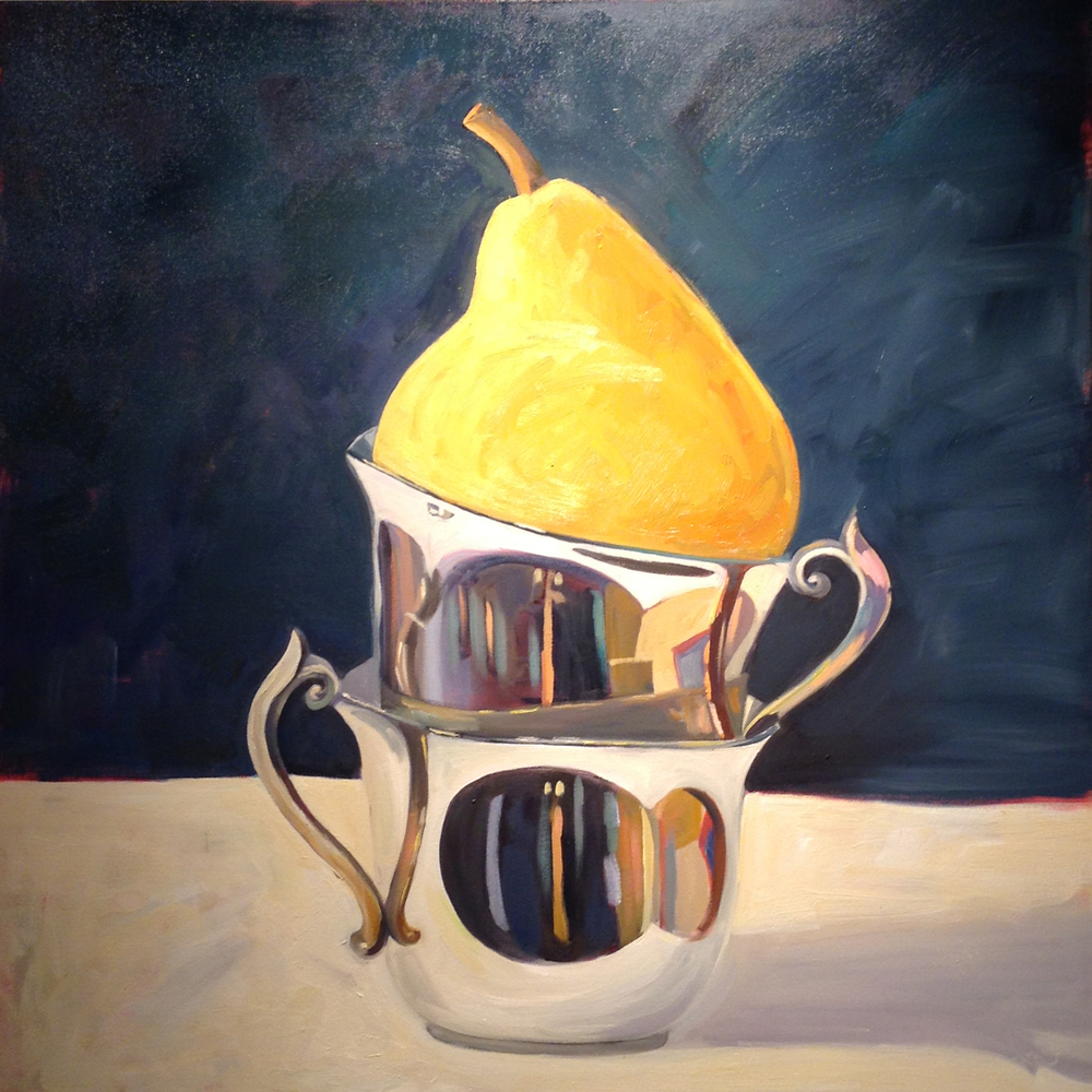 Reflective Pears   48 x 48 inches   Oil on Canvas   2015•  $3200