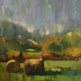 Bales of Hay, 36 x 36in. Oil on Canvas $1900 ©Marianne Gargour, Mgargour.com