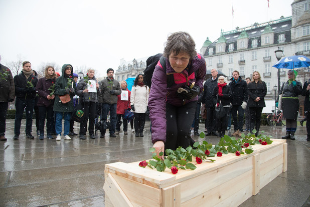 Faith-based activists in Oslo hold a vigil for the victims of Norwegian arms on 14 April.