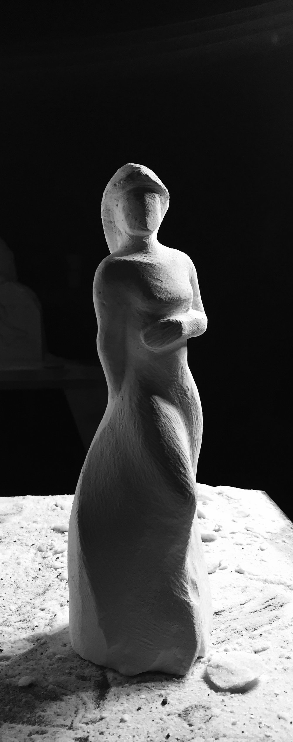 """Presence"" one of the three marble figures 30"" tall"