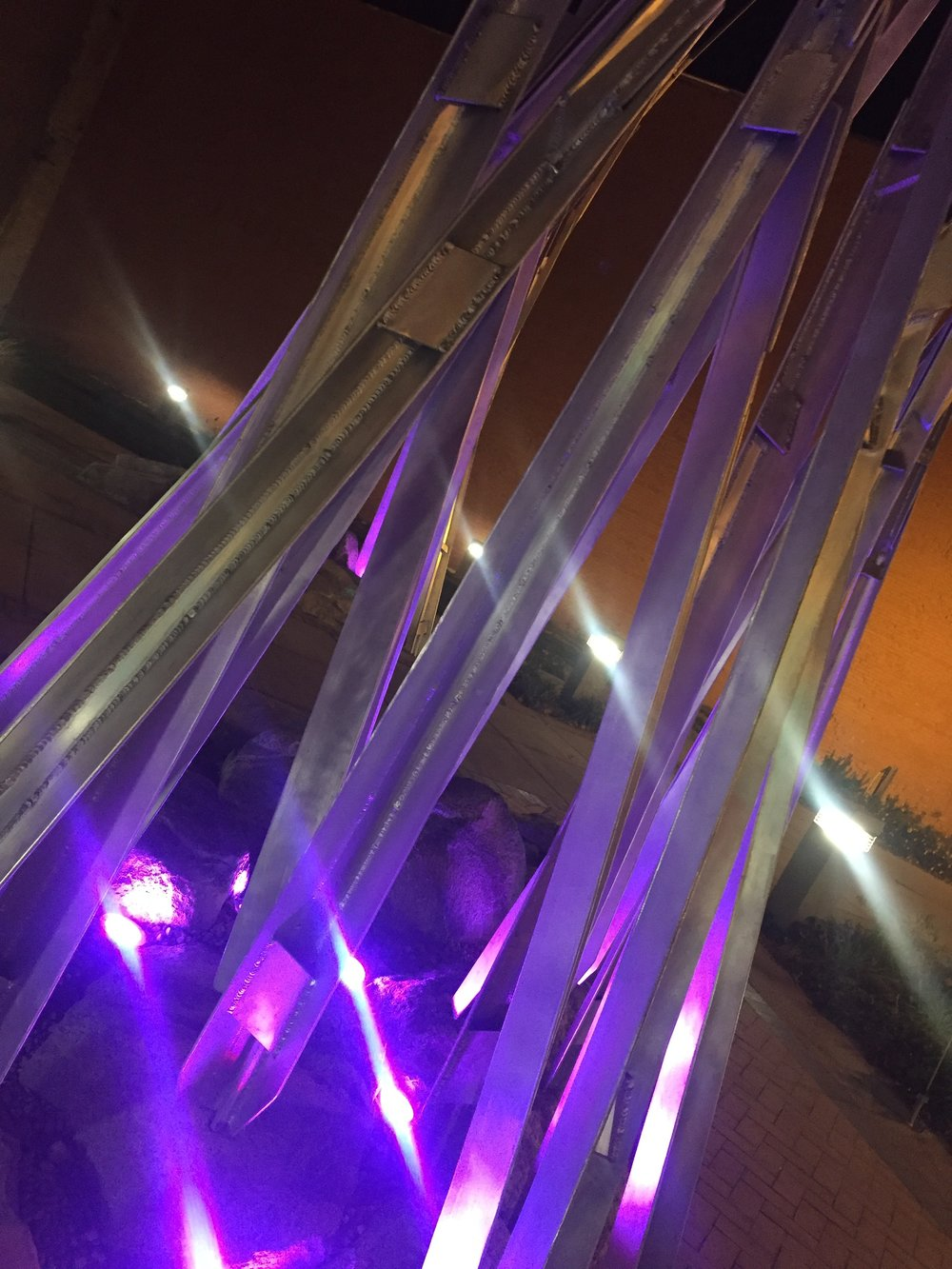 """Prairie Grass Ballet"" at night with app controlled LED lighting"