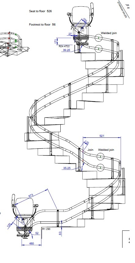 Curved Stair Lift drawing
