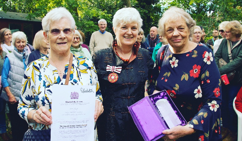 Pictured:  Sheila Meaning BEM, New Hope founder and honorary life president, Penny Williams JP DL representing the Lord Lieutenant of Hertfordshire and Polly Odbert, Volunteer Manager of the New Hope Queens Road shop