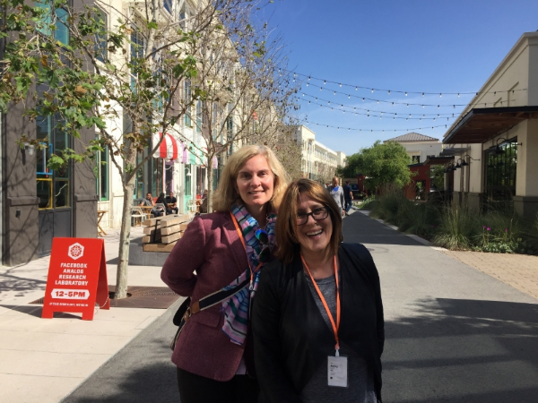 Jen Vescio and Audrey Russo visiting the Facebook campus in Silicon Valley.