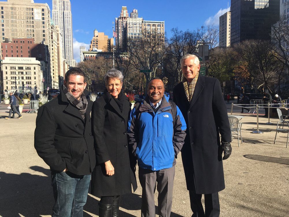 Brendan Carroll of Skycision, Alicia McGinnis of Fortyx80, Abhay Edlabakhar of RedMorph, and Jim Traut of RendrFX enjoying a brisk morning on the way to meetings with Union Square Ventures and White Star Capital.
