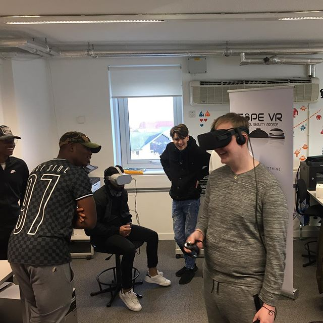 Great day with the NQ computing students at @glasgowclyde showcasing our virtual reality.  See more pics and videos at facebook.com/CAPEVR