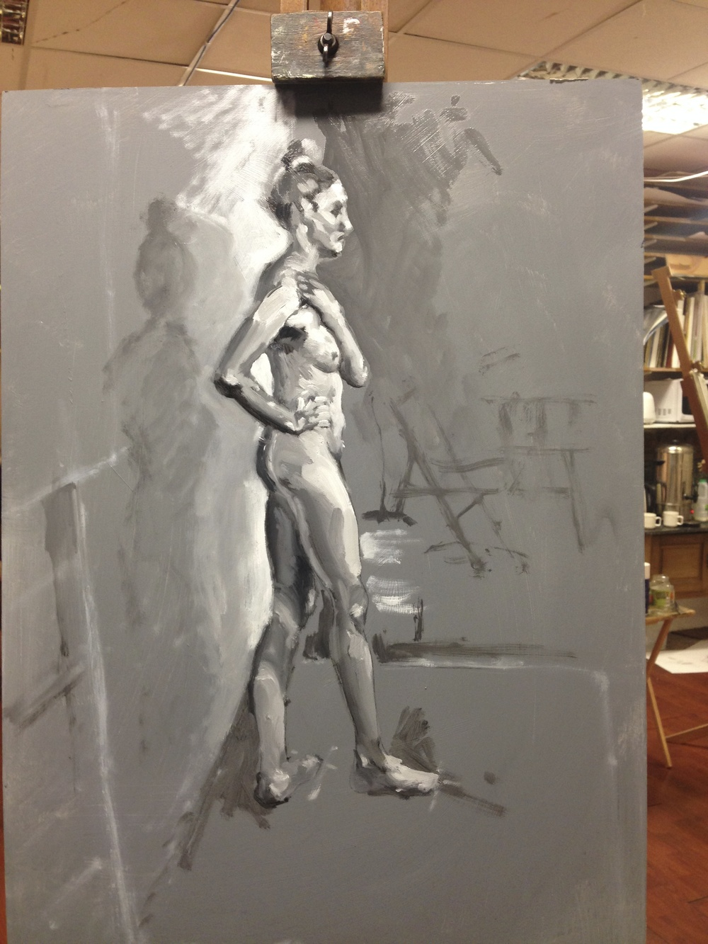 An pose in progress from my Tuesday evening class at Draw, Brighton.