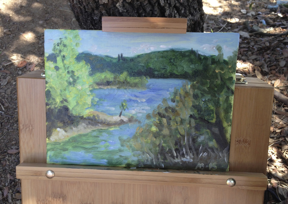 "Le Lac, August 2015 (Oil on board, 10x7"")"