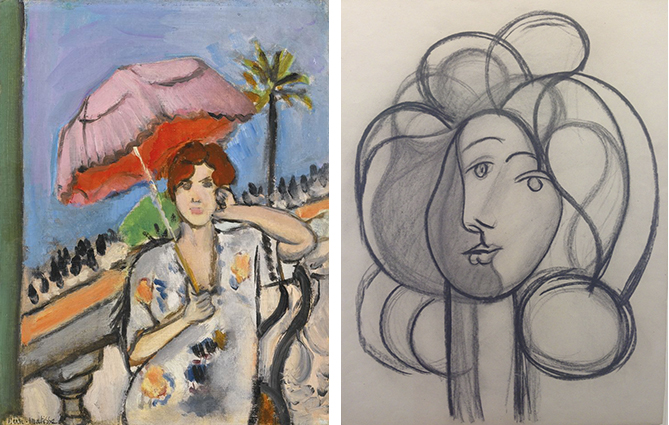 (left) Matisse, Femme a L'ombrelle and (right) Picasso, Charcoal Portrait of Francoise