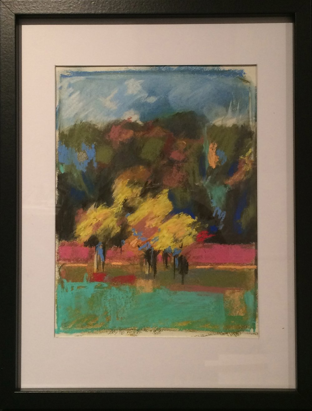 Stanmer, Yellow Trees Pastel Drawing