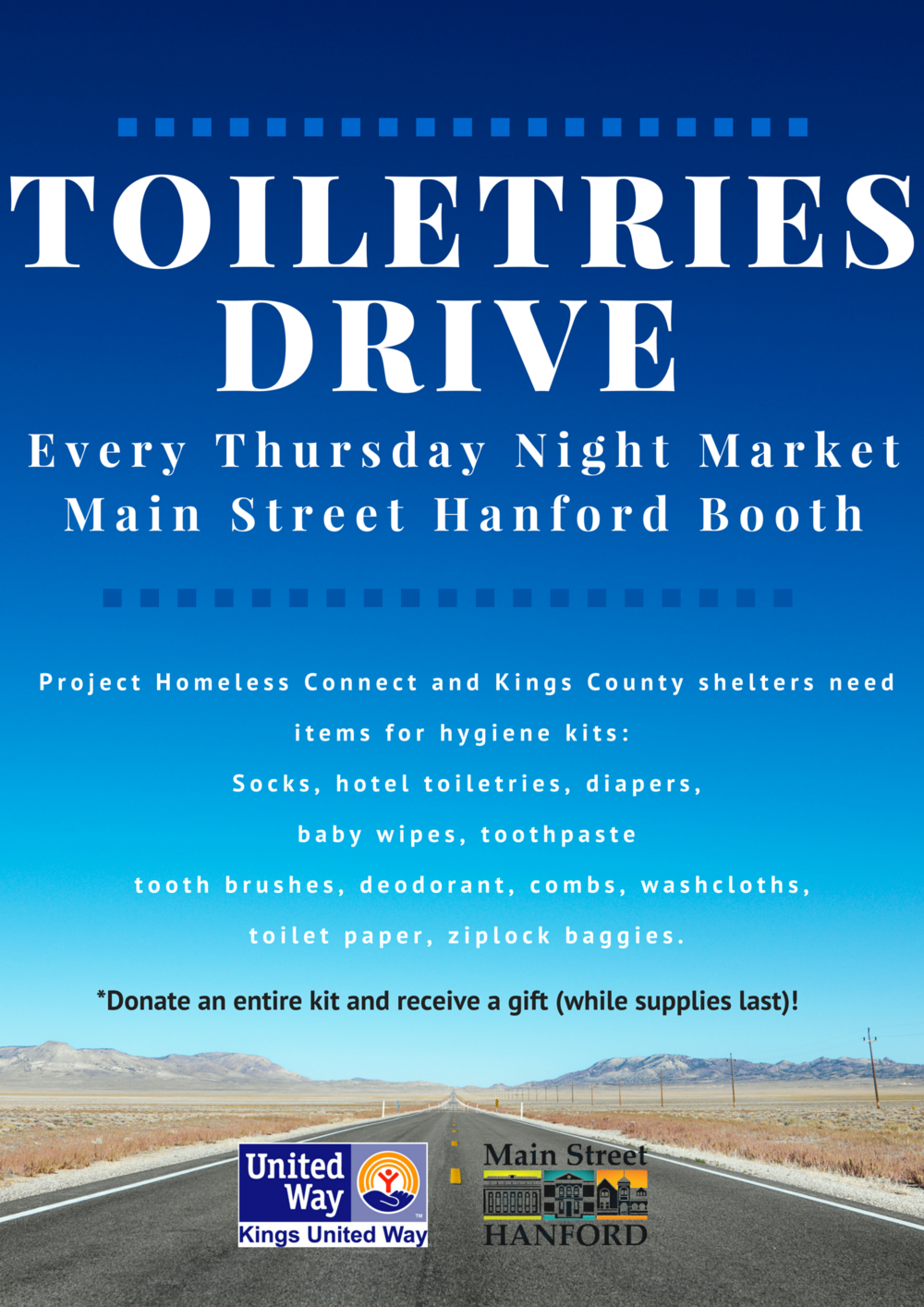 Visit the Main Street Hanford Booth  to drop off items or for more information!